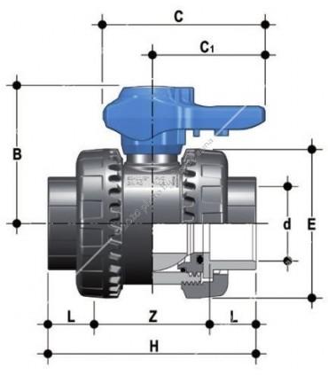 PVC hollanderes gömbcsap, 40 mm-s csőhöz