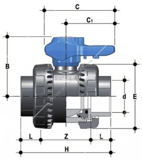 PVC hollanderes gömbcsap, 63 mm-s csőhöz