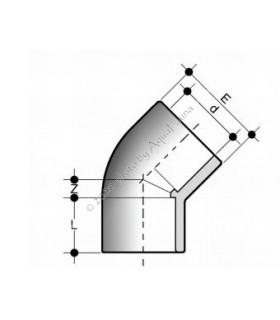 PVC 45° könyök idom 16 mm-es csőhöz