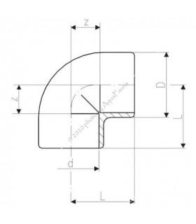 PVC 90° könyök idom 12 mm-es csőhöz